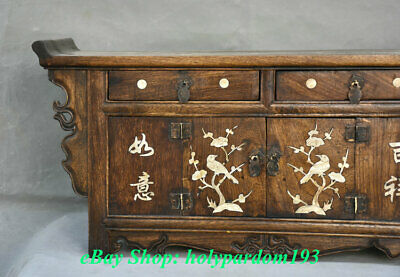 """23"""" Old Chinese Huanghuali Wood Dynasty Drawer Classical Cupboard Cabinet Desk 2"""