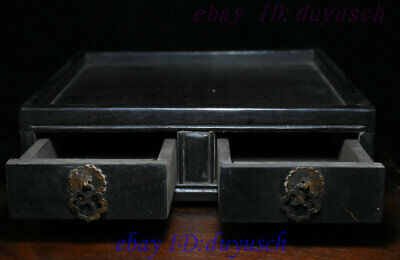 """10"""" Old Chinese Rosewood Wood handcrafted Two drawer small square tables Statue 2"""
