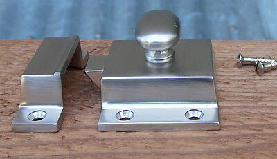 Reproduction Large Solid Brass Cabinet Latch ( Brushed Nickel) 3
