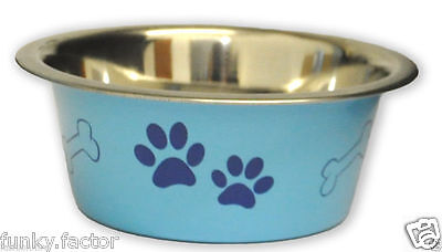 Stainless SteelPet Bowl Pink Blue Dog Puppy Dog Cat Kitten Water Food Bowl 3