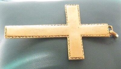 OUTSTANDING VINTAGE BRASS CROSS,ENGRAVING,EARLY 20th. Century !!! # 958 4