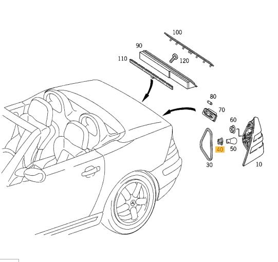 Neuf Véritable Mercedes Benz MB SLK R170 Arrière Lampe Ampoule Support Douille