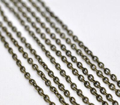 2m Chaine maille Forçat Texturée chainette bronze 4,5mm x 3mm petit maillon