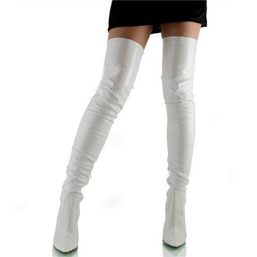 Sexy Women Over Knee Thigh High Boots Pointed Toe Stiletto Heels Club Big Shoes 5