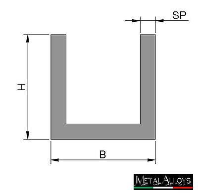 Profilo U Canalina Base Larga Alluminio da 20 25 30 40 45 mm DIVERSE LUNGHEZZE