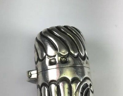 Antique Victorian 1886 Sterling Silver Repousse Hinged Perfume Scent Bottle M121 5