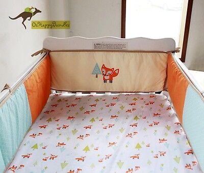 New Baby Boys Girls 8 Pieces Fox Theme Cotton Nursery Bedding Crib Cot Set