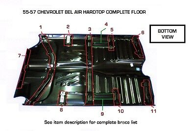 57 Chevy 2-Dr Hardtop Full Floor Pan Complete W/ Braces + Inner & Outer Rockers 5