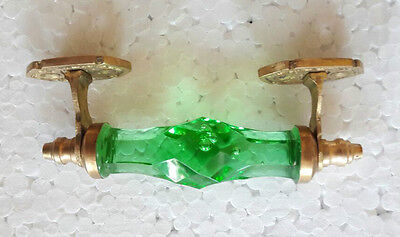 2Pc Vintage Antique Style Beautiful Crystal /Cut Glass Door Handles, Collectible 10