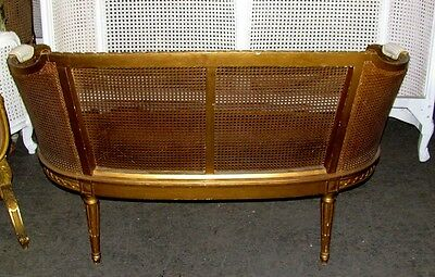 19th Century French Louis XVI Cane Caned Settee Sofa Canapé 10