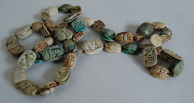 Long Antique EGYPTIAN SCARAB NECKLACE  (47 Scarabs) - Faience             (4B18) 7