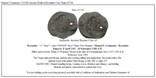 Manuel I Comnenus 1143AD Ancient Medieval Byzantine Coin Virgin  i45186 3