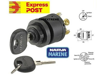 Narva 64008 Marine 3 Position Ignition Switch With Push For Choke Function 12 V