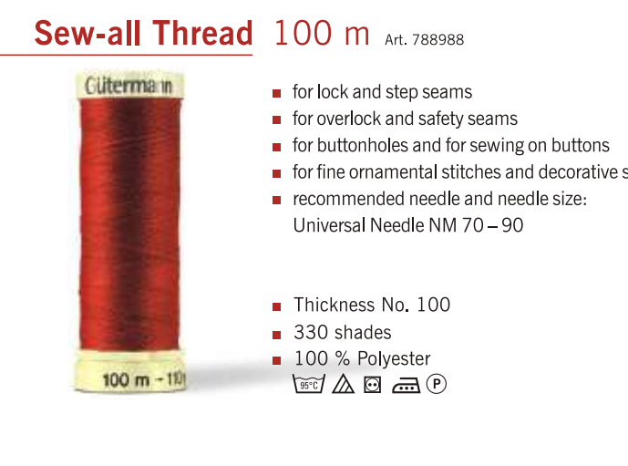 Gütermann 100m Reel Sew-All 100% Polyester Sewing Thread/ Cotton Machine + Hand 3