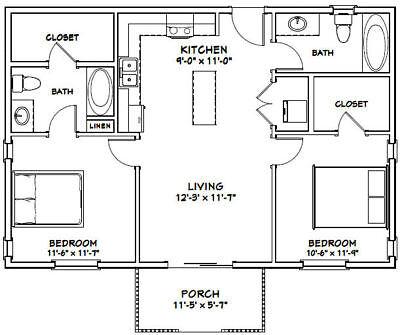 36X24 HOUSE -- 2 Bedroom 2 Bath -- 864 sq ft -- PDF Floor Plan -- Model 1B