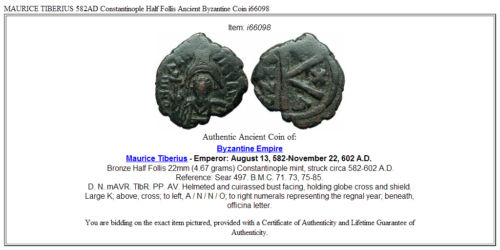 MAURICE TIBERIUS 582AD Constantinople Half Follis Ancient Byzantine Coin i66098 3