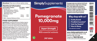 Pomegranate 10000mg 240 Tablets | Super Antioxidant | For Heart & Circulation