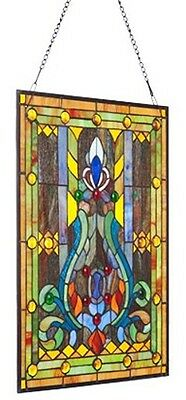 Elegant Tiffany Stained Glass Fleur de Lis Window Panel 3