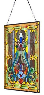 Elegant Tiffany Stained Glass Fleur de Lis Window Panel 4