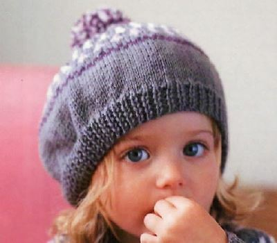 Knitting Pattern Girls Fair Isle Beret And Cardigan Set Ages 1 5