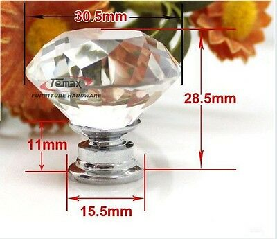 10 zinc alloy clear glass crystal sparkle cabinet drawer door pulls knobs handle 9 • CAD $14.60
