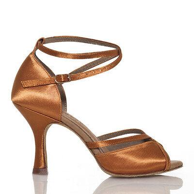 Women's Satin Ballroom Salsa Latin Tango Ceroc Dance Shoes Heeled Sandals All SZ 2