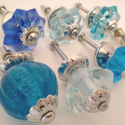 Blue ~ K176 ~ Set//2 Unique Drawer Pulls Glass Dresser Knobs or Closet Handles