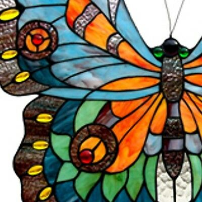 "Tiffany Stained Glass Panel ""Swallowtail Butterfly"" 2"