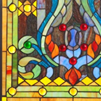 Elegant Tiffany Stained Glass Fleur de Lis Window Panel 2