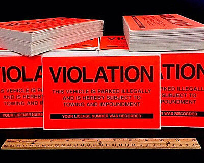 Pack Of 50 ⭐ Pro & Real! ⭐ No Illegal Parking Violation Sign Tow Warning Sticker 4