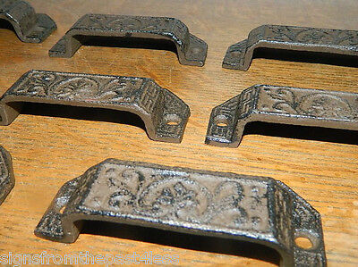 Set/8 Ornate Cast Iron Industrial Tool Seed Index File Bin Pull or Handles 3