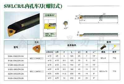 1pcs S16Q-SWLCR06 16x180mm HOLDER CNC lathe tool hole lathe 95° FOR WC**06T3