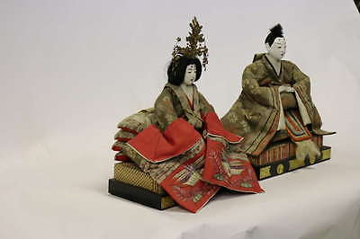 Gofun Meiji Period Hina Japanese Emperor and Empress Dolls with Provenance 2