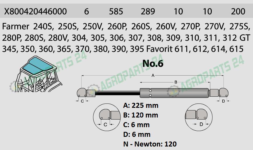 Gasdruckfeder für Fendt X800420446000 Dachluke