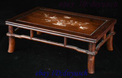 "21"" Chinese Huanghuali Wood Inlay shell Bird flowers Furniture table Desk Tables 3"