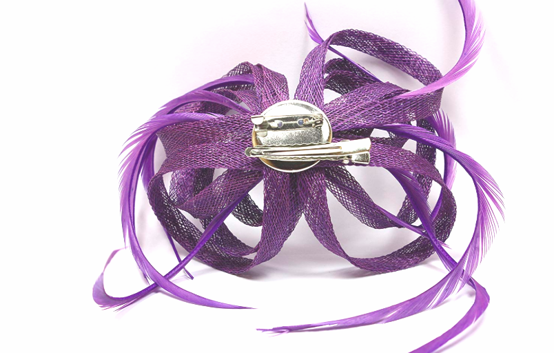 Purple Looped Sinamay and Feather Fascinator Corsage Beak Clip Brooch Pin 2