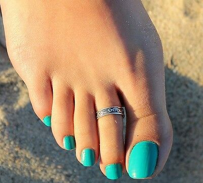 Ancient Silver Toe Thumb Finger Ring Celtic Style Pattern Womens Size D and up 6