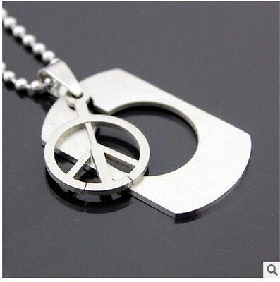 HOT Peace Womens Men's Silver 316L Stainless Steel Titanium Pendant Necklace 3