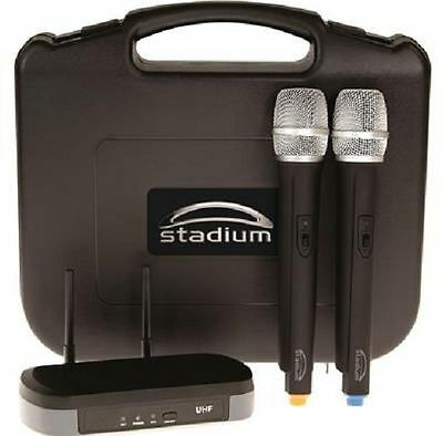 Stadium Twin UHF 60M Wireless MIC Microphone Pack transmitter Carry Case WIMIC2B 3