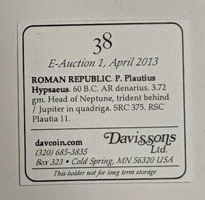 P. PLAUTIUS HYPSAEUS, SILVER Denarius, ROMAN REPUBLIC 60 BC 3