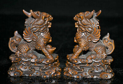 "4"" Old Chinese Boxwood Wood Carving Dragon Qilin Beast Wealth Lucky Statue Pair 8"