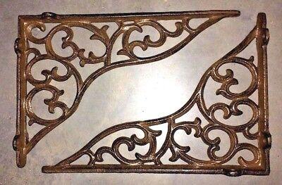 SET OF 2 LARGE VICTORIAN VINE SHELF BRACKET BRACE Rustic Antique Brown Cast Iron 5