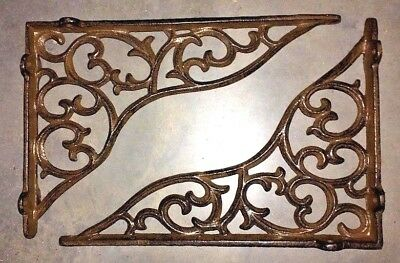 SET OF 4 LARGE VICTORIAN VINE SHELF BRACKET BRACE Rustic Antique Brown Cast Iron 5