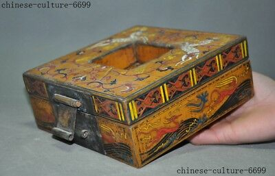 "7"" Rare old Chinese lacquerware wood carving Sika deer Storage Jewelry box case 3"