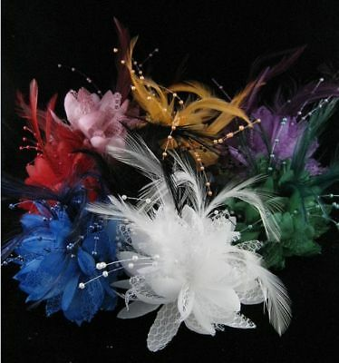 Flower Feather Bead Corsage Hair Clips Fascinator Hairband and Pin 2