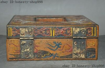 Old China Bronze Lacquerware Carved Auspicious Sika deer Jewelry Case Box Boxes 10