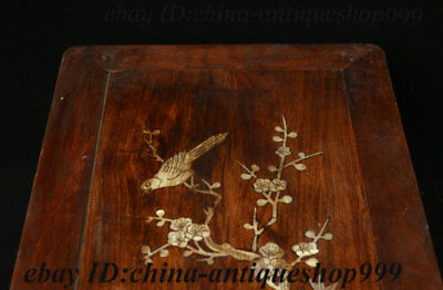 "19"" Chinese Huali Wood Inlay Shell Flower Bird Table Tea-Things Teapoy End table 7"