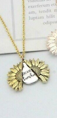 """You Are My Sunshine"" Sunflower Open Locket Pendant Womans Necklace Jewelry Gift 5"