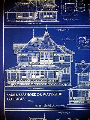 """Vintage House Ocean Front Sea Cottage 1881 Blueprint 24"""" x 32""""   (058) 3"""