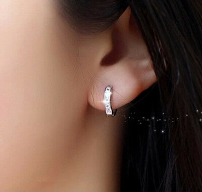 Women Silver Round Crystal Heart Hoop Ear Stud Earrings Wedding Bridal Jewelry 7